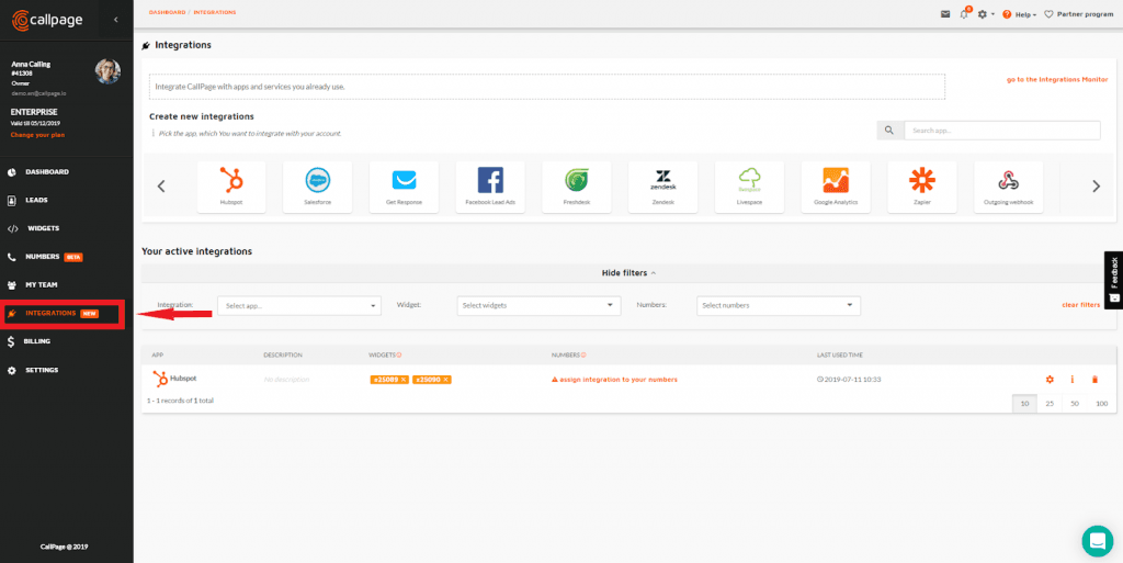 CallPage Dashboard Integrations