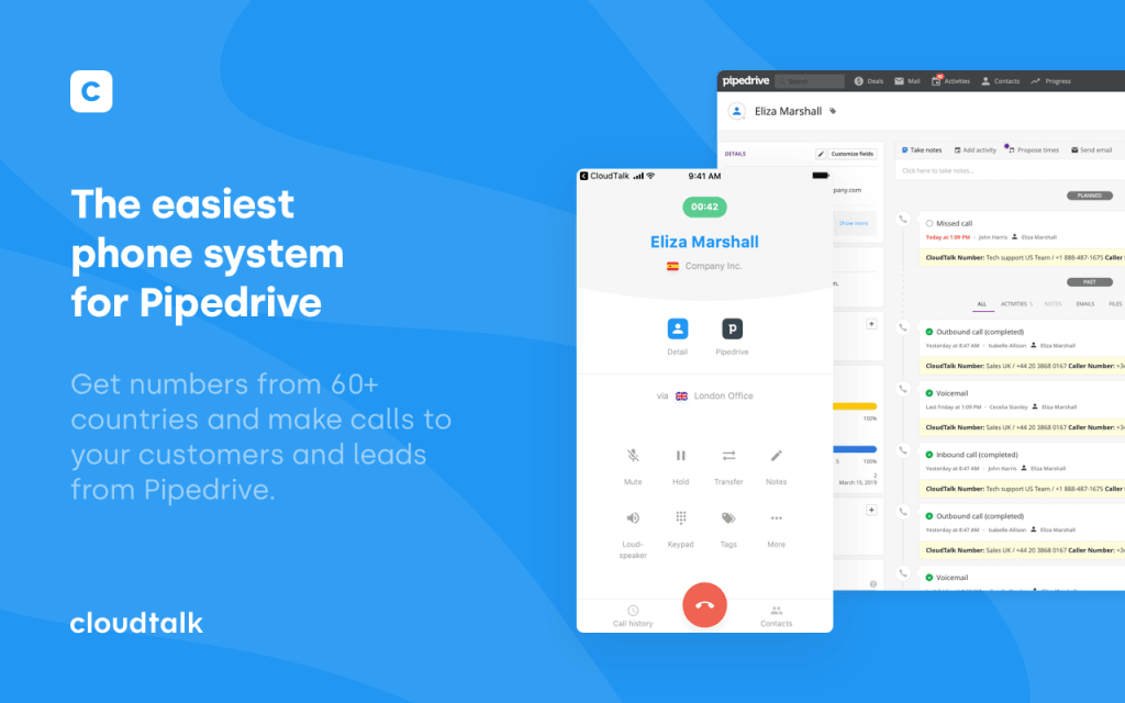 CloudTalk phone syste, for Pipedrive